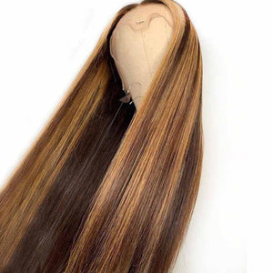 #4/27 color Pre Plucked Lace Front Human Hair Wig 13x4 Straight Brazilian Remy Hair