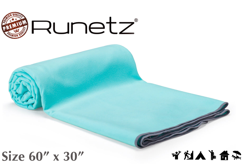 MICROFIBER TOWEL - Extra Large - Super Absorbent & Quick Drying (Sport, Gym, Camp, Car Care, Travel) - XL - TEAL BLUE - Runetz