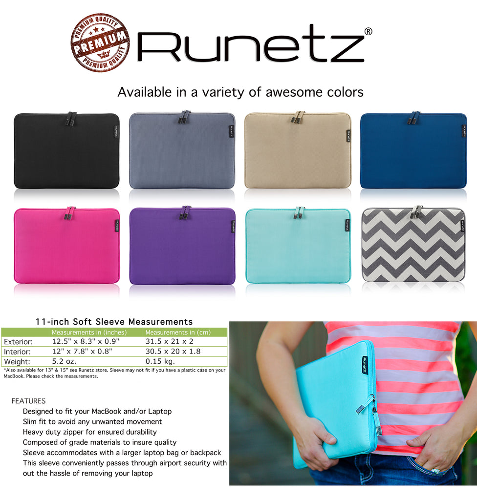 Runetz - Soft Sleeve Case Cover for MacBook 12-inch - 15-inch Laptops