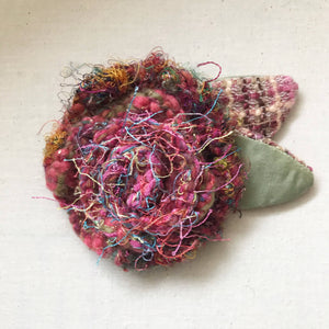 Hand Crafted Fabric Flower Brooch