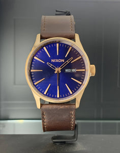 Nixon Sentry Leather Watch Rose Gold/Navy/Brown