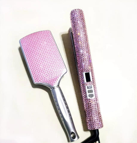 Rose Pink Diamond Flat Iron & Brush Set