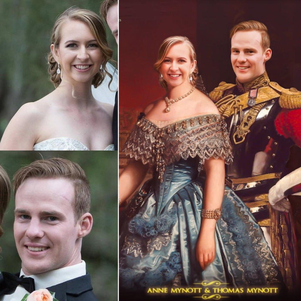 custom royal portraits of a couple, painting gifts for couples