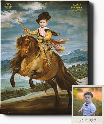 Custom Royal Portraits LITTLE HORSEMAN | CUSTOM KID RENAISSANCE PORTRAIT | CUSTOM GIFT FOR HIM - Regal Pawtraits
