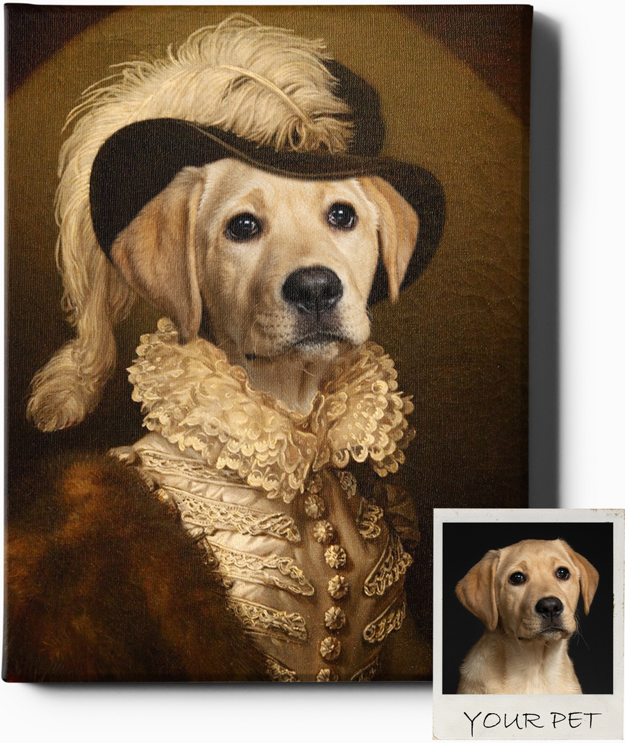 Custom Royal Portraits THE SOCIALITE II | CUSTOM PET PORTRAIT | REGAL PAWTRAITS - Regal Pawtraits