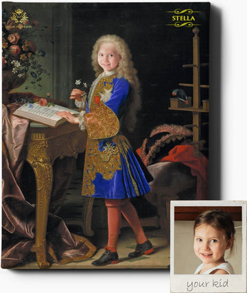 Custom Royal Portraits LITTLE SCHOLAR | CUSTOM KID RENAISSANCE PORTRAIT | CUSTOM GIFT FOR HIM - Regal Pawtraits