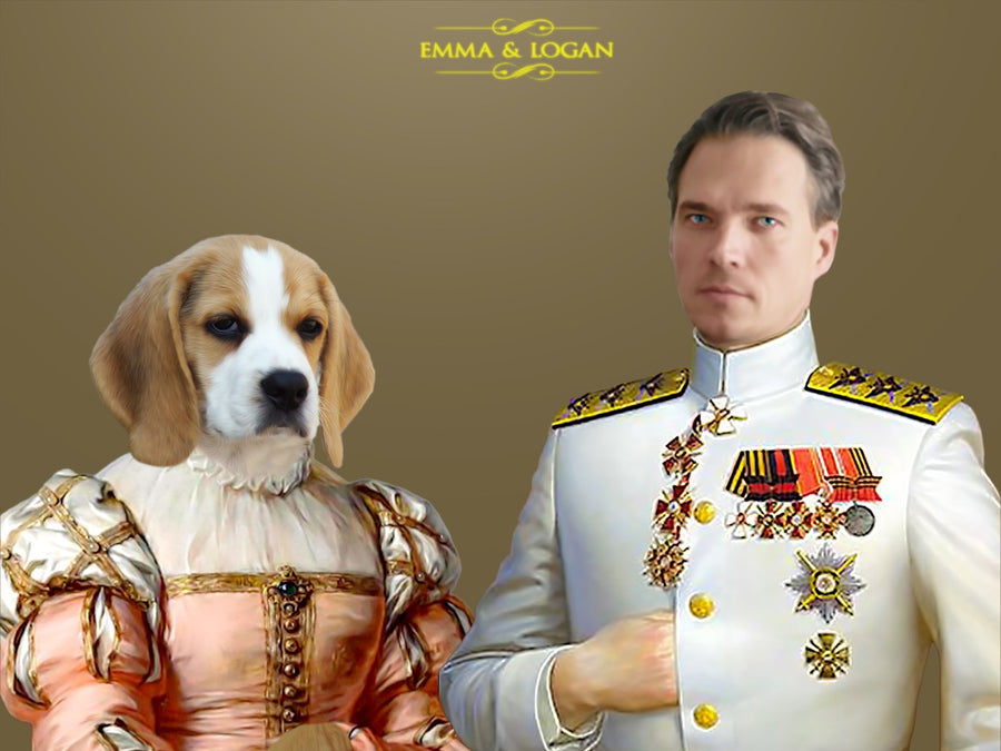 THE ADMIRAL & THE LADY | CUSTOM PET PORTRAIT | REGAL PAWTRAITS - Regal Pawtraits