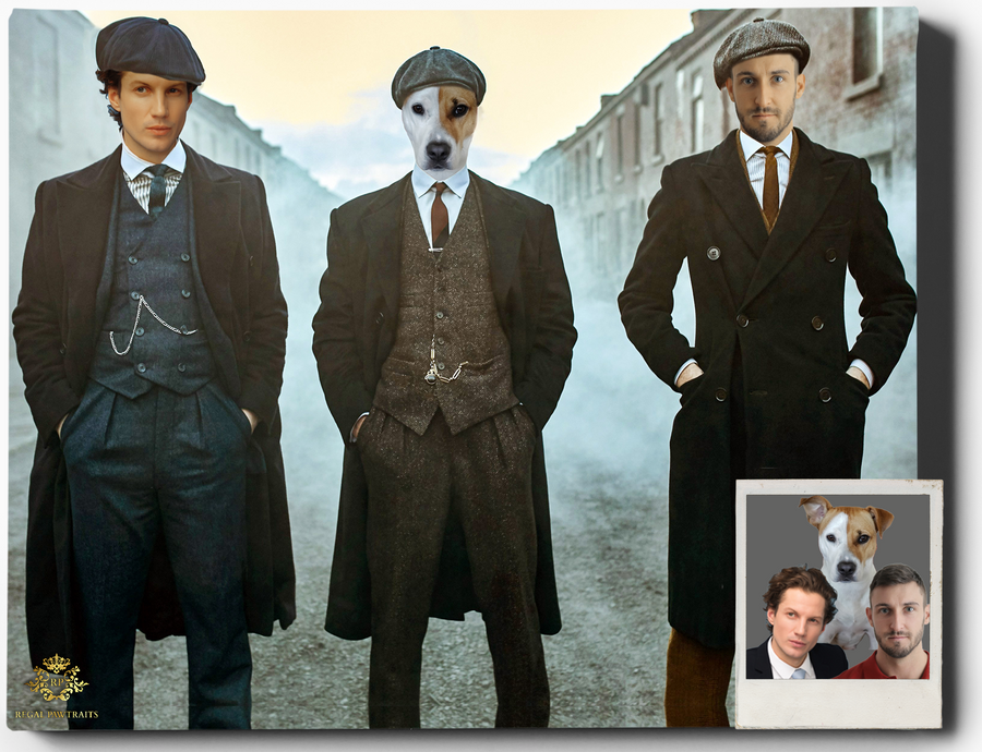 Custom Royal Portraits PEAKY BLINDERS TRIO | CUSTOM PEAKY BLINDERS PORTRAIT | REGAL PAWTRAITS - Regal Pawtraits