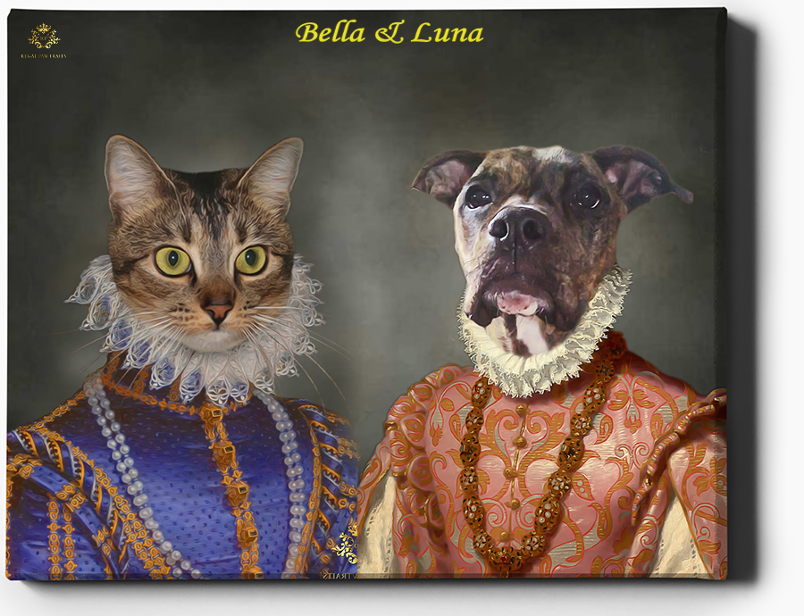Custom Pet Portrait | Two Queens | Custom Royal Portraits - Regal Pawtraits