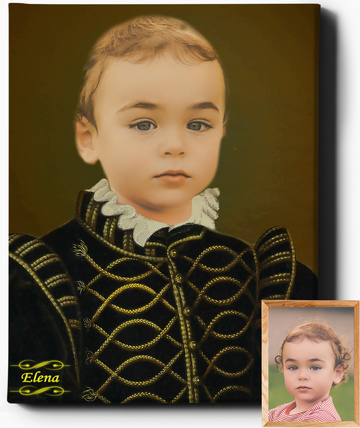 Little Lord V | Custom Royal Portraits | Custom Gift for Kids - Regal Pawtraits