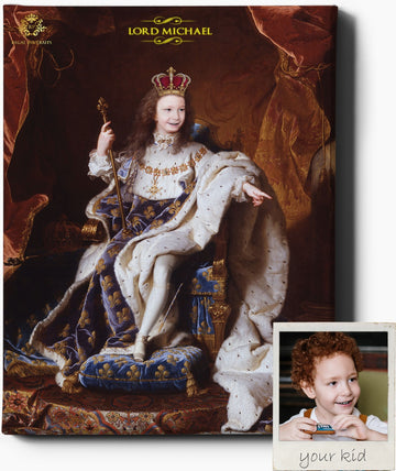 LITTLE KING | CUSTOM KID RENAISSANCE PORTRAIT | CUSTOM GIFT FOR HIM - Regal Pawtraits