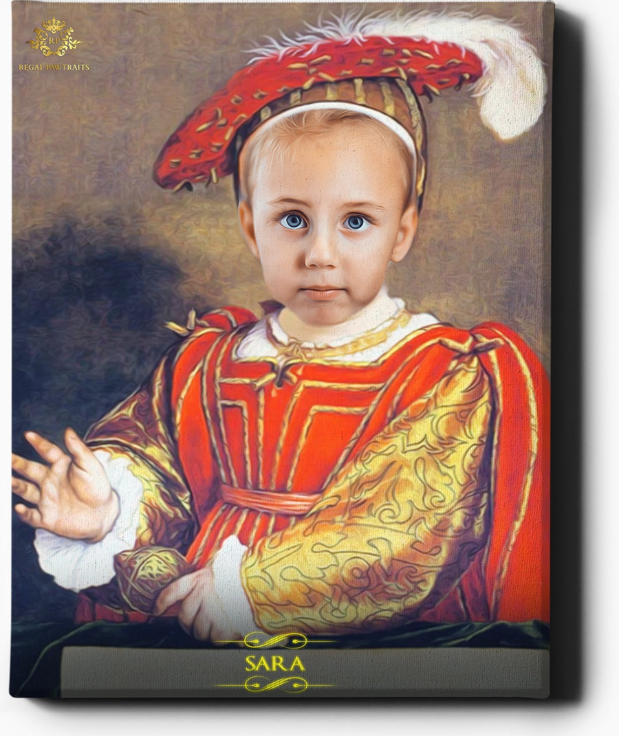 The Little One | Custom Royal Portraits | Custom Gift for Kids - Regal Pawtraits