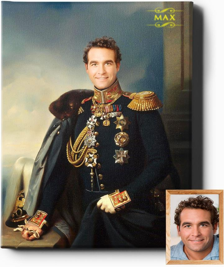 The General | Custom Royal Portrait | Custom Gift For Him - Regal Pawtraits