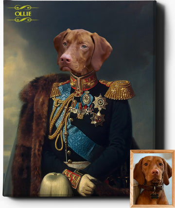 Custom Pet Portrait | The General | Custom Royal Portraits - Regal Pawtraits