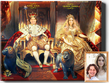 Custom Royal Portraits | The Royal Couple II | Custom Gift For Couples - Regal Pawtraits