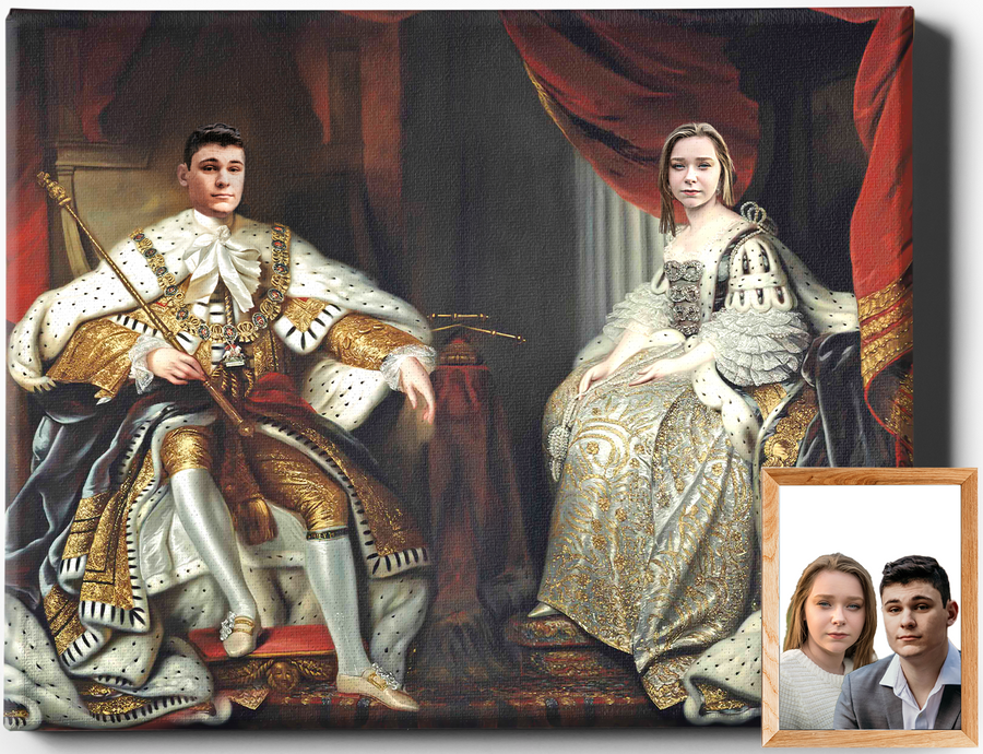 THE ROYAL COUPLE | CUSTOM RENAISSANCE PORTRAIT | CUSTOM GIFT FOR COUPLES - Regal Pawtraits
