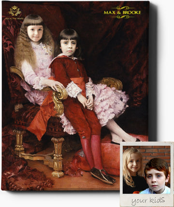 Custom Royal Portraits THE SIBLINGS II | CUSTOM KID RENAISSANCE PORTRAIT | CUSTOM GIFT FOR KIDS - Regal Pawtraits
