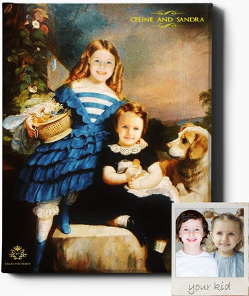 Custom Royal Portraits THE SIBLINGS | CUSTOM KID RENAISSANCE PORTRAIT | CUSTOM GIFT FOR KIDS - Regal Pawtraits