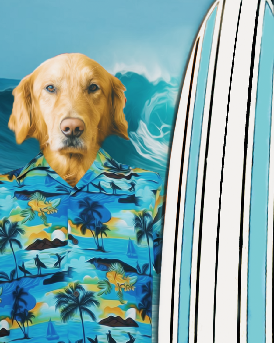 Custom Royal Portraits THE SURFER | CUSTOM PET PORTRAIT | REGAL PAWTRAITS - Regal Pawtraits