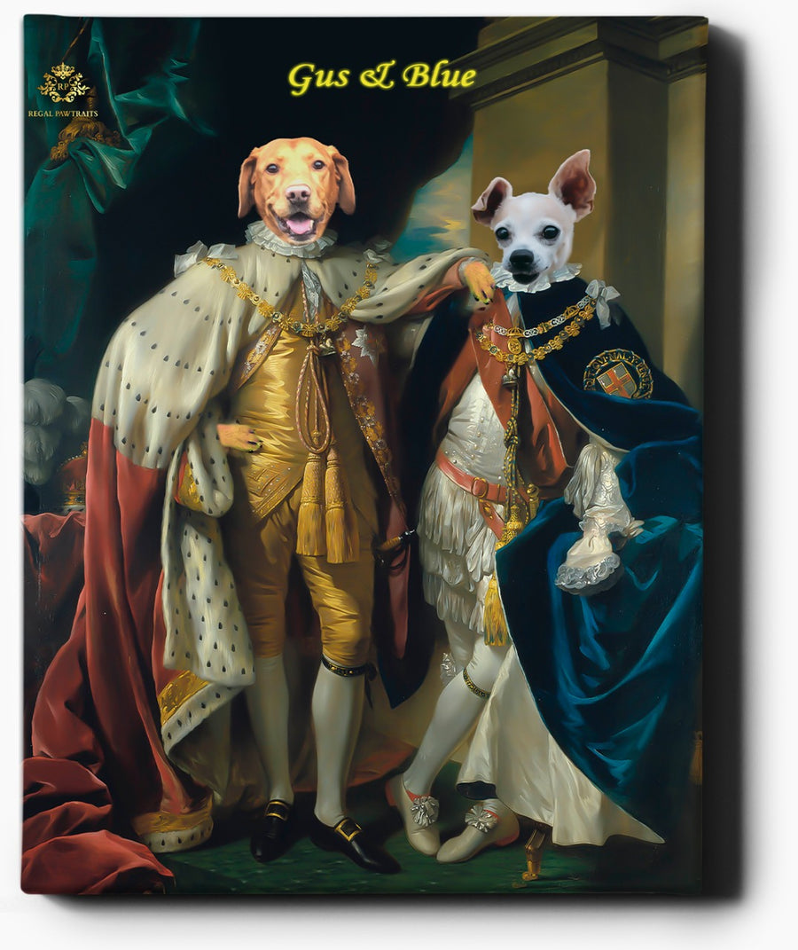 Custom Pet Portrait | Two Kings II | Custom Royal Portraits - Regal Pawtraits