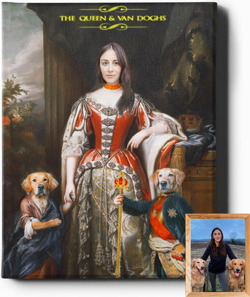 THE QUEEN AND VAN DOGHS | CUSTOM PET PORTRAIT | REGAL PAWTRAITS - Regal Pawtraits