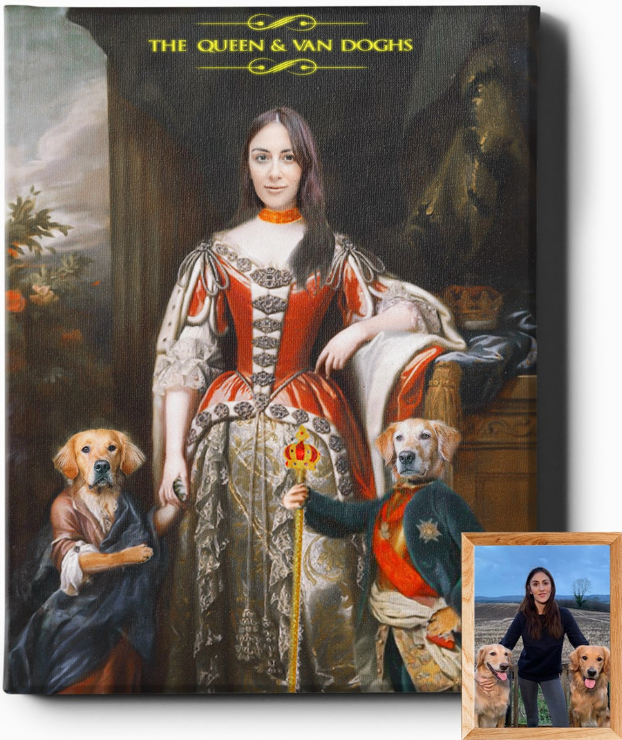 Custom Royal Portraits THE QUEEN AND VAN DOGHS | CUSTOM PET PORTRAIT | REGAL PAWTRAITS - Regal Pawtraits