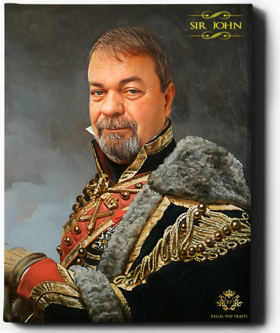Custom Royal Portraits | The Veteran II | Custom Gift For Him - Regal Pawtraits