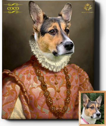 Custom Pet Portrait | The Viscountess II | Custom Royal Portraits - Regal Pawtraits