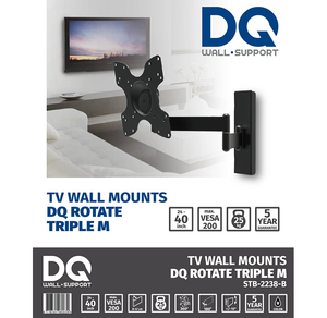 DQ Rotate Triple M Black TV Wall Bracket