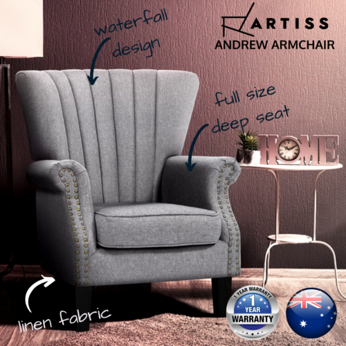 Modern Accent Grey Fabric Armchair for Bedroom or Lounge Chair w/ Black Legs