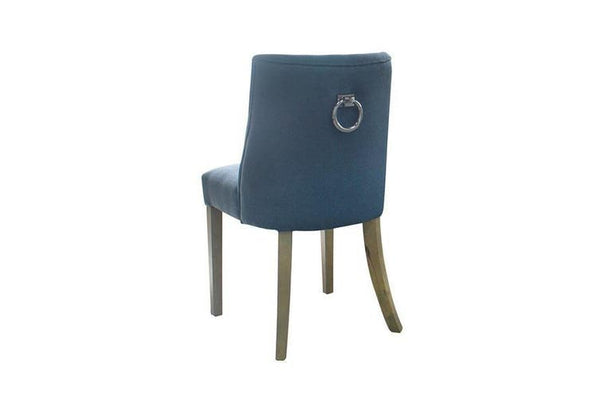2 Ophelia Dining Chair With Silver Ring Pull Handle On The Back Denim Blue