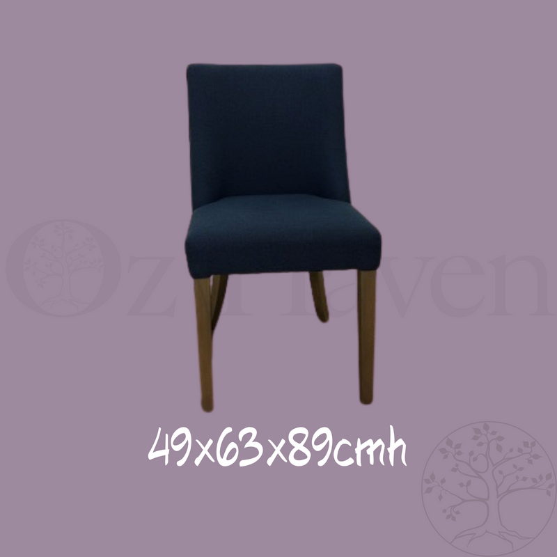 Ophelia Dining Chair Blue Silver Ring Wood Legs