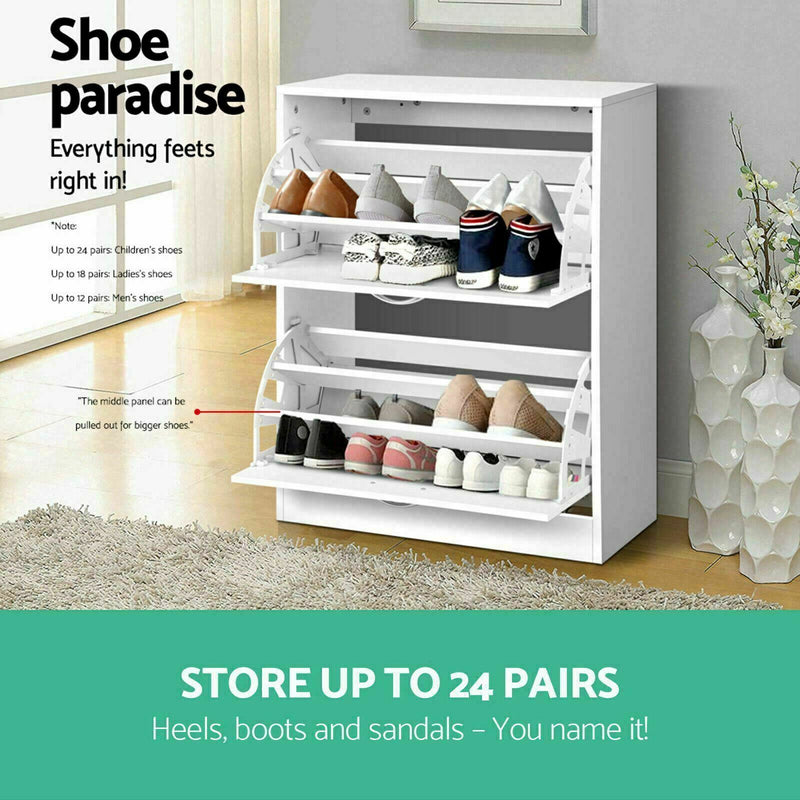 Shoe Cabinet Shoes Storage Rack 24 Pairs Wooden Organiser Shelf Cupboard