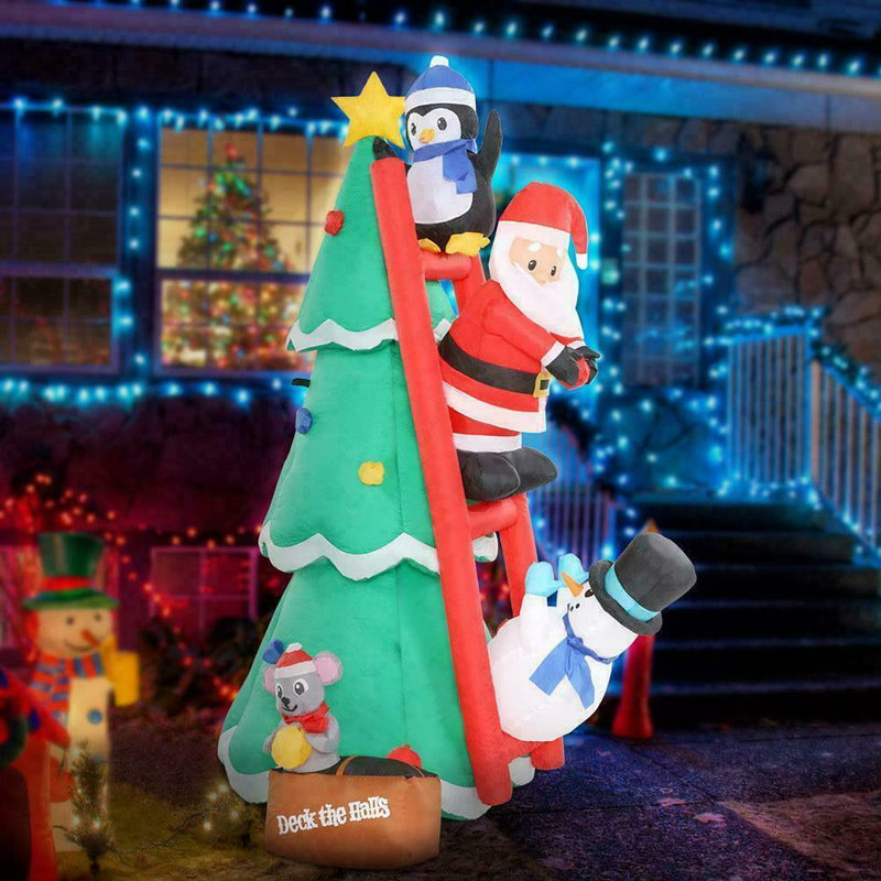 Outdoor Inflatable 1.8m Christmas Tree - Santa Penguin Snowman on Ladder 6x LEDs