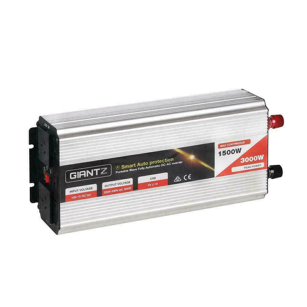 Giantz Power Inverter 12V to 240V Pure Sine Wave 1500W/3000W Camping Car Boat