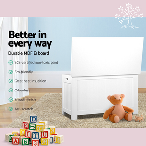 Multi-Use Storage Chest | Kids Toy Box Cabinet Organiser Container in White