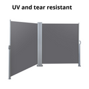 Instahut Retractable Side Awning Garden Patio Shade Screen Panel Grey 1.8X6m
