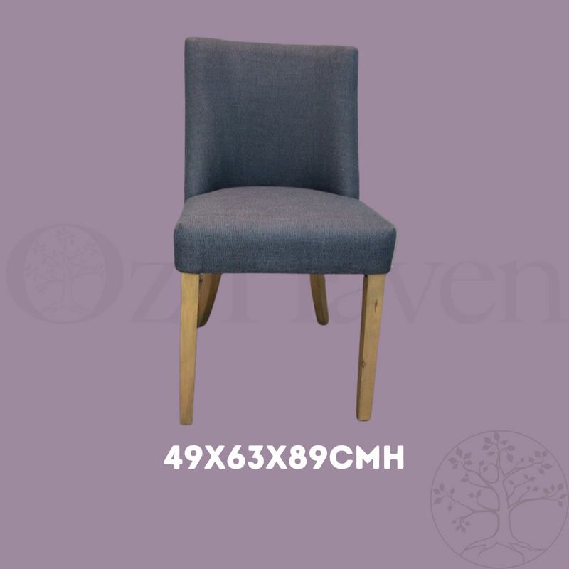 Ophelia Dining Chair With Silver Ring Pull Handle On The Back Denim Blue