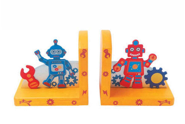 WOODEN ROBOT BOOKEND
