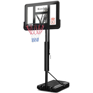 "3.07M 44"" Basketball Hoop Ring Portable Height Adjustable Backboard Rim System"