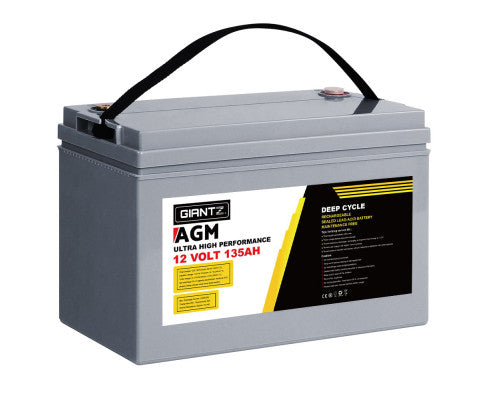 Giantz AGM Deep Cycle Battery 12V 135Ah Marine Sealed Power Portable Box