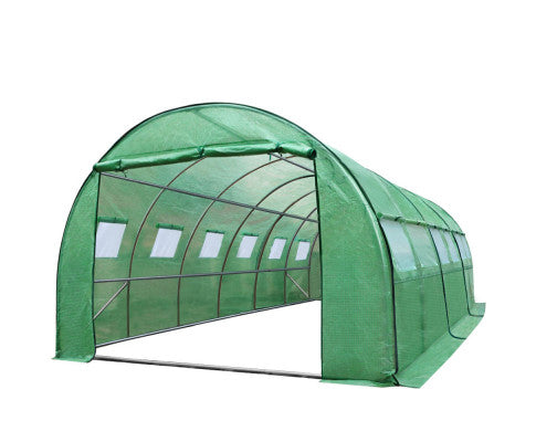 PE Greenhouse Tunnel Walk In Garden Plant Storage Shed Durable Frame - 6x3x2m