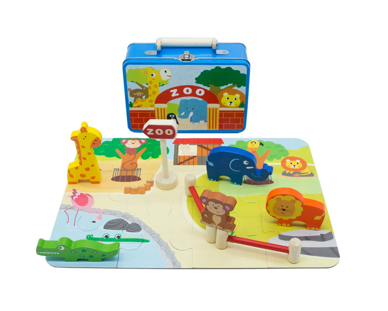 ZOO PLAYSET IN TIN CASE