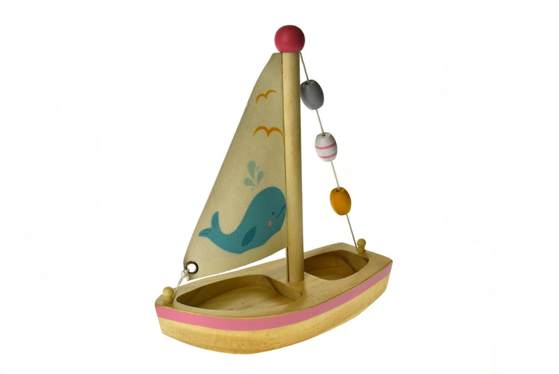 CALM & BREEZY WOODEN SAILBOAT WHALE