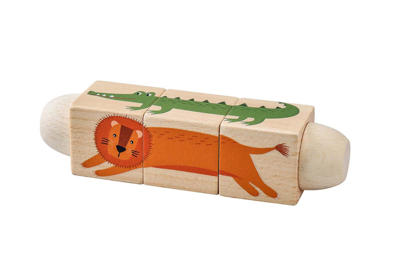 WOODEN TWIST PUZZLE BLOCK JUNGLE ANIMAL