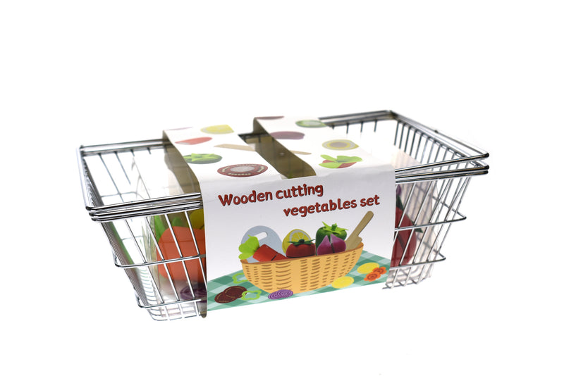 WOODEN CUTTING VEGETABLES WITH METAL BASKET