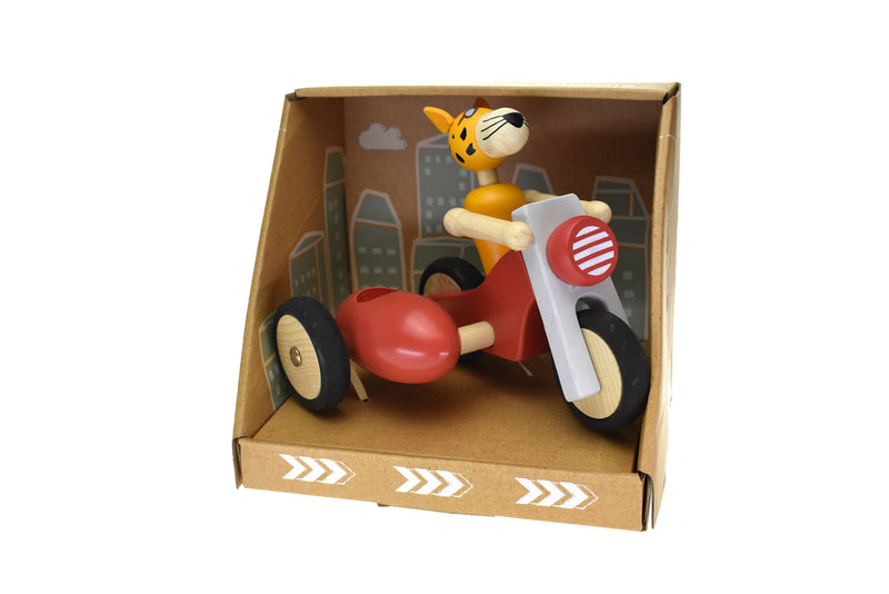 RETRO LGE MOTOR TRICYCLE WITH CUTE LEOPARD DRIVER RED