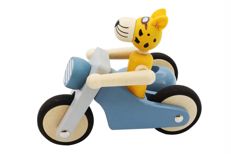 RETRO LGE MOTOR TRICYCLE WITH CUTE LEOPARD DRIVER BLUE
