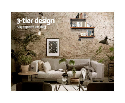 Display Shelves Rustic Bookshelf Industrial DIY Pipe Shelf Wall Brackets
