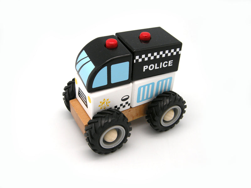 WOODEN BLOCK POLICE RUBBER WHEELS